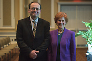 Dr. Judith Yaross Lee, right, and Dr. Alexander Govorov, left, are the 2017 Distinguished Professor Award recipients at Ohio University's Baker Center Ballroom on Monday, February 20, 2017.