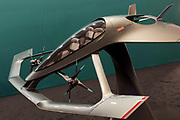 """The Aston-Martin Volonte concept plane  at the Farnborough Airshow, on 16th July 2018, in Farnborough, England. The Volante Vision Concept autonomous private plane is an advanced near-future preview of a three-seater autonomous plane that will provide """"fast, efficient and congestion free luxurious travel"""" for the wealthy clients who would hypothetically buy a production-ready flying car. (Photo by Richard Baker / In Pictures via Getty Images)"""