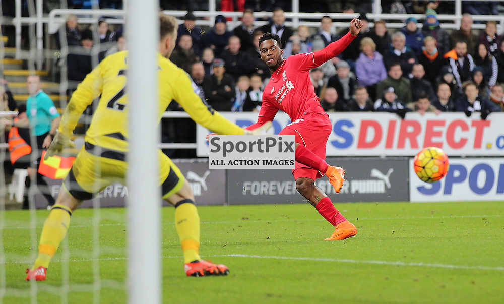 Newcastle United v Liverpool English Premiership 6 December 2015; Daniel Sturridge (Liverpool, 15) shoots wide during the Newcastle v Liverpool English Premiership match played at St. James' Park, Newcastle; <br /> <br /> &copy; Chris McCluskie | SportPix.org.uk