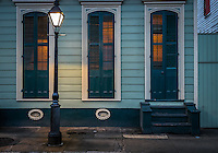 NEW ORLEANS - CIRCA FEBRUARY 2014: View of a typical facade in the New Orleans French Quarter in Louisiana, at night.