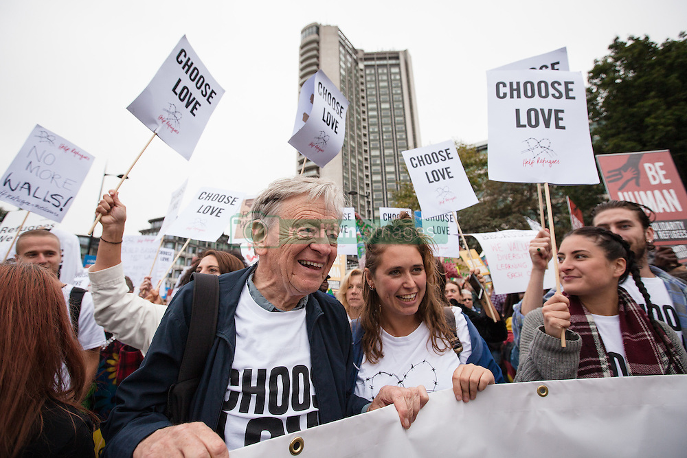 September 17, 2016 - London, London - London, UK. Lord ALFRED DUBS (L), who was brought to Britain on the Kindertransport during the Second World War, joins thousands as they march through central London to call on the government to welcome refugees to the UK. (Credit Image: © Rob Pinney/London News Pictures via ZUMA Wire)