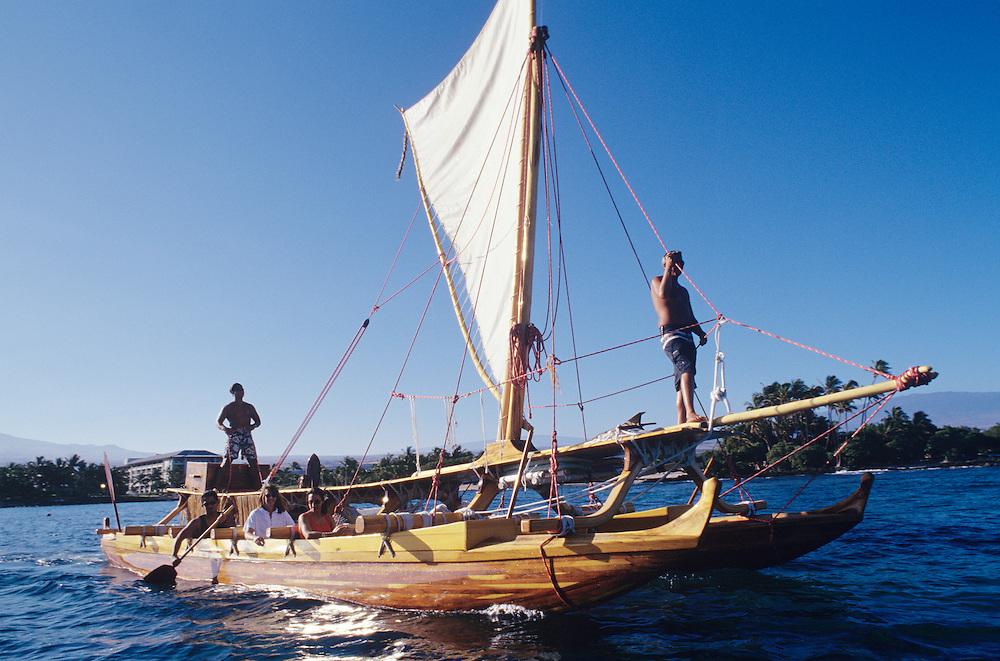 Big Island, Hawaii, Hawaiian double hull sailing canoe, Hahalua Lele