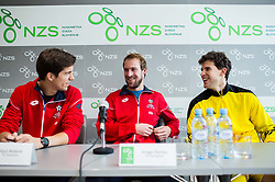 Aljaz Bedene, Gregor Zemlja and Dominic Thiem at press conference prior to the friendly football match between NK Fantazisti (SLO) and 1st TFC - First Tennis & Football Club (AUT) presented by professional and former tennis players, on November 25, 2017 in Nacionalni nogometni center Brdo pri Kranju, Slovenia. Photo by Vid Ponikvar / Sportida