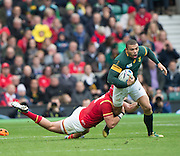 Twickenham, Great Britain, Bryan HABANA on the break is tackled and grounded by Tyler MORGAN,  during the during the Quarter Final 1 game, South Africa vs Wales.  2015 Rugby World Cup,  Venue, Twickenham Stadium, Surrey, ENGLAND.  Saturday  17/10/2015.   [Mandatory Credit; Peter Spurrier/Intersport-images]