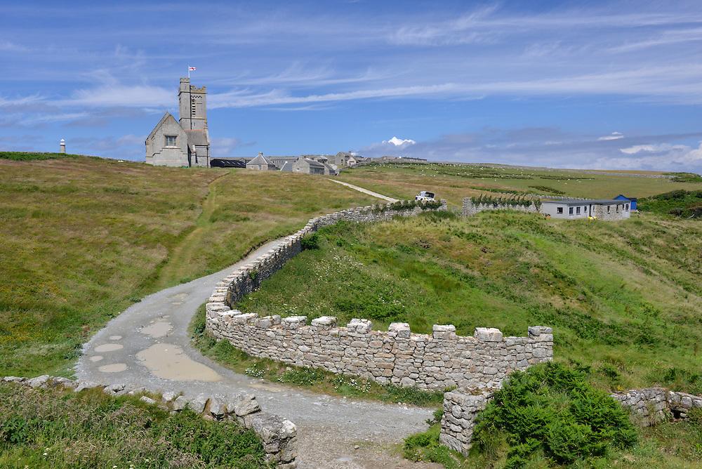 St Helen's Church and the village on Lundy Island, Devon