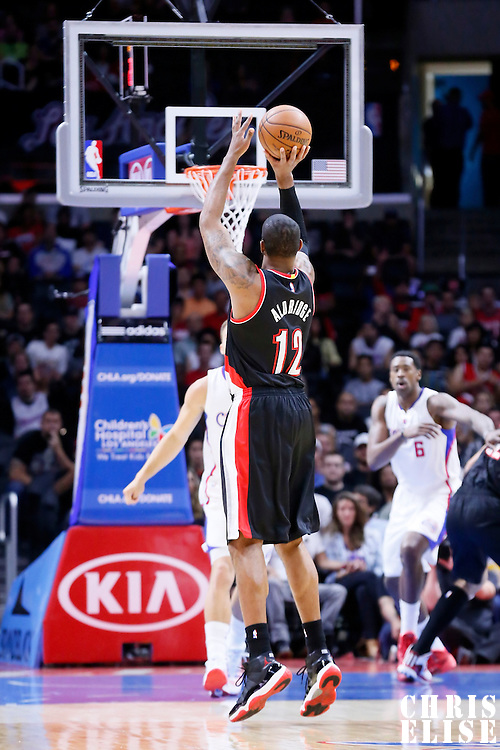 08 November 2014: Portland Trail Blazers forward LaMarcus Aldridge (12) takes a jump shot during the Los Angeles Clippers 106-102 victory over the Portland Trail Blazers, at the Staples Center, Los Angeles, California, USA.