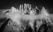 Cathedral peaks tower above Baltoro glacier, winter in Karakoram, Pakistan