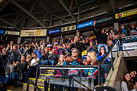 KELOWNA, CANADA - NOVEMBER 3:  Fans celebrate the tie breaking goal against the Brandon Wheat Kings on November 3, 2018 at Prospera Place in Kelowna, British Columbia, Canada.  (Photo by Marissa Baecker/Shoot the Breeze)