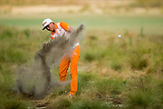 Rickie Fowler hits his second shot on the 11th hole during the final round of the 2014 U.S. Open at Pinehurst Resort & C.C. in Village of Pinehurst, N.C. on Sunday, June 15, 2014.  (Copyright USGA/Darren Carroll)