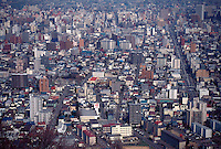 Looking down on the city of Sapporo, Hokkaido, Japan from the summit of Mt Maruyama.