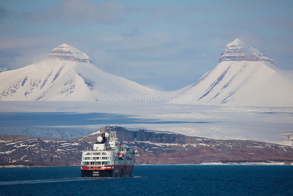 The Hurtigruten cruise ship Fram, at Ny Alesund, Kongsfjord, Svalbard