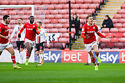 Brad Potts of Barnsley (20) scores a goal and celebrates to make the score 1-0 during the EFL Sky Bet League 1 match between Barnsley and Charlton Athletic at Oakwell, Barnsley, England on 29 December 2018.