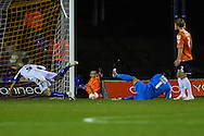 Mark Tyler of Luton Town (centre) is beaten to the ball as Danny Rose of Bury (left) scores the opening goal during the Sky Bet League 2 match at Kenilworth Road, Luton<br /> Picture by David Horn/Focus Images Ltd +44 7545 970036<br /> 19/08/2014