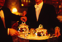 tuxedoed waiters two dishes at Restaurant Alain Ducasse, Paris