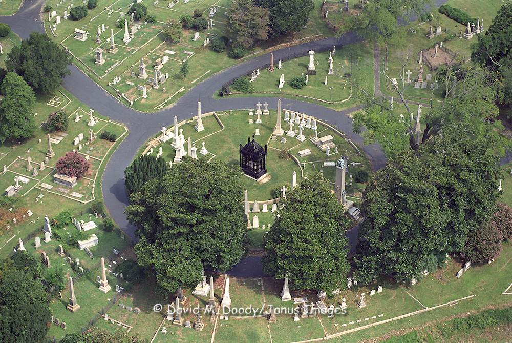 Aerial view of  historic Hollywood Cemetery in Richmond, Virginia.