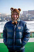 "Portrait of a Russian passenger on the ""Eastern Dream"" ferry during arrival to the sea port of Vladivostok in Russia. Vladivostok, Russian Federation, Russia, RUS, 12.01.2010."