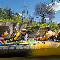 BASK Thursday Paddle on Gallinas Creek.. The sign on Highway 101 reads Marcin Co. Civic Center Next Right.