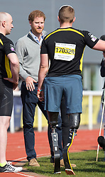 BATH - UK- 7th April 2017: Prince Harry joined wounded, injured and sick military personnel and veterans who are trying out for a place on the UK team at the Invictus Games Toronto 2017.The trials are taking place at the University of Bath Sports Village.<br /> Photograph by  Ian Jones