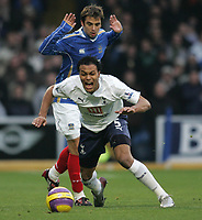 Photo: Lee Earle/Sportsbeat Images.<br /> Portsmouth v Tottenham Hotspur. The FA Barclays Premiership. 15/12/2007. Tottenham's Younes Kaboul (f) is caught by Pompey's Niko Kranjcar.