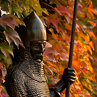 Statue of a medieval Serbian knight in front of Ruzica Church, Kalemegdan Fortress, Belgrade, Serbia.