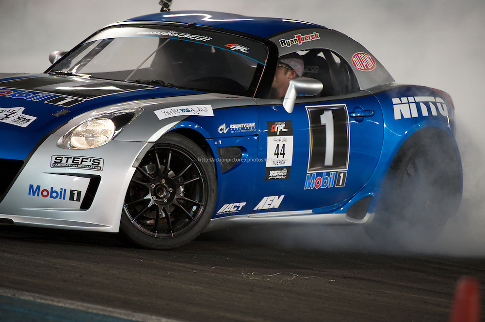 25 feb, formula drift champion ship, yas marina circuit, abu dhabi, ryan tuerck is driving his  mobil 1 pontiac solstice