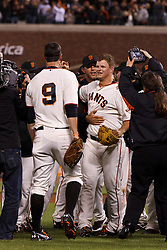 SAN FRANCISCO, CA - JUNE 13: Matt Cain #18 of the San Francisco Giants (center) is congratulated by teammates after the game against the Houston Astros at AT&T Park on June 13, 2012 in San Francisco, California. Cain pitched a perfect game as the San Francisco Giants defeated the Houston Astros 10-0. (Photo by Jason O. Watson/Getty Images) *** Local Caption *** Matt Cain