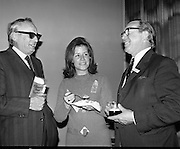 Kilkenny Beer Festival Launch..1972..11.09.1972..09.11.1972..11th September 1972..At the Guinness reception in Dublin plans were announced for this years Kilkenny Beer Festival..Image of Mr Michael McGuinness,Secretary,Festival Committee, Ms Angela McCrone and Mr H Roycroft,Guinness Group Sales at the announcement of the forthcoming Kilkenny Beer Festival.