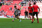 Southampton warming up prior to the The FA Cup match between Chelsea and Southampton at Wembley Stadium, London, England on 22 April 2018. Picture by Toyin Oshodi.