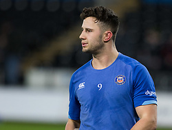 Bath Rugby's Max Green during the pre match warm up<br /> <br /> Photographer Simon King/Replay Images<br /> <br /> Anglo-Welsh Cup Round 4 - Ospreys v Bath Rugby - Friday 2nd February 2018 - Liberty Stadium - Swansea<br /> <br /> World Copyright © Replay Images . All rights reserved. info@replayimages.co.uk - http://replayimages.co.uk