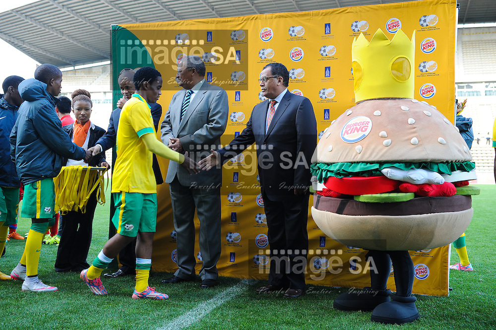 CAPE TOWN, SOUTH AFRICA - Sunday 27 September 2015: Mr Alex Abercrombie (Managing Director of Burger King) and Dr Danny Jordaan hand out the medals to the South African team members during the U17 International friendly soccer match between South Africa v Chile at Athlete Stadium. (Photo by Roger Sedres/ImageSA)