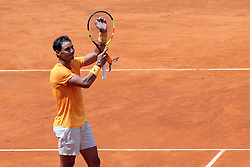 May 18, 2018 - Rome, Rome, Italy - 18th May 2018, Foro Italico, Rome, Italy; Italian Open Tennis; Rafael Nadal (ESP) celebrates after winning 4-6, 6-1, 6-2 a quarter-final match against Fabio Fognini (ITA). Credit: Giampiero Sposito/Pacific Press (Credit Image: © Giampiero Sposito/Pacific Press via ZUMA Wire)