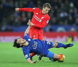 Lucas Leiva of Liverpool (L) and Shinji Okazaki of Leicester City in action - Mandatory byline: Jack Phillips/JMP - 02/02/2016 - FOOTBALL - King Power Stadium - Leicester, England - Leicester City v Liverpool - Barclays Premier League