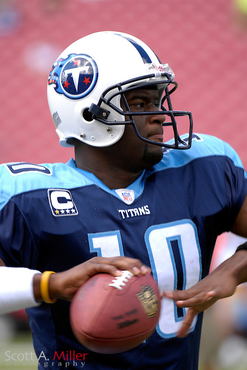 Oct. 14, 2007; Tampa, FL, USA; Tennessee Titans quarterback Vince Young (10) prior to the start of his team's game against the Tampa Bay Buccaneers at Raymond James Stadium. ...©2007 Scott A. Miller