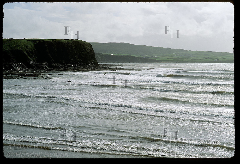 Lone surfer surveys waves on beach at Lahinch, County Clare, Ireland.