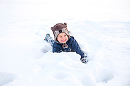Boys, Playing, Fun, Enjoyment, Innocence, Snow, Lying Down,