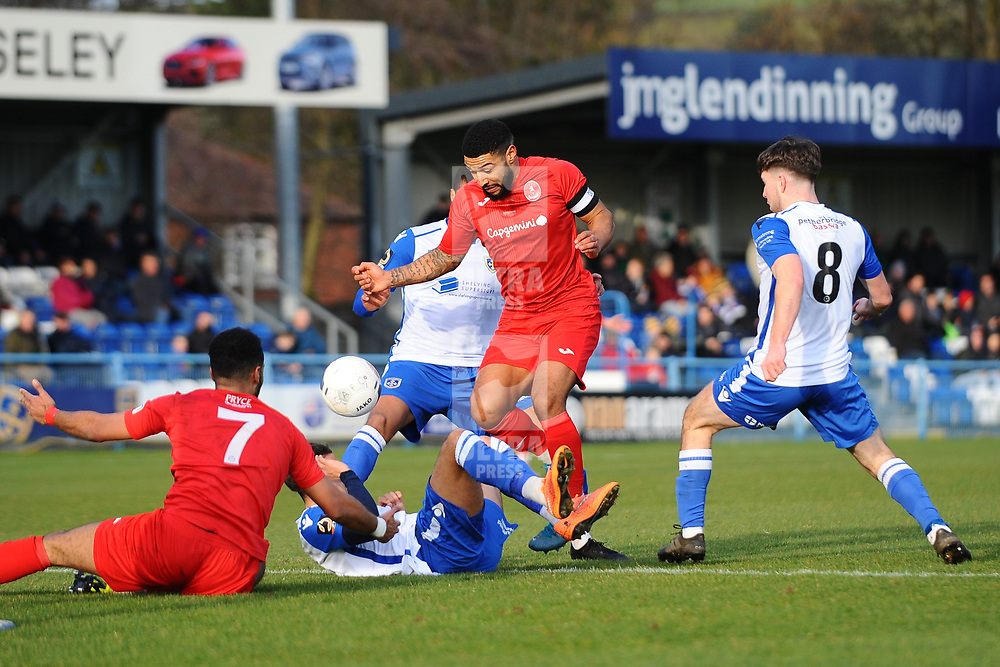 TELFORD COPYRIGHT MIKE SHERIDAN  Ellis Deeney of Telford battles for the ball during the Vanarama Conference North fixture between Guiseley and AFC Telford United at Nethermoor Park on Saturday, February 8, 2020.<br /> <br /> Picture credit: Mike Sheridan/Ultrapress<br /> <br /> MS201920-046
