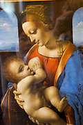 Madonna Litta (Madonna and Child) by Leonardo da Vinci at the State Hermitage Museum. A museum of art and culture in Saint Petersburg, Russia. The largest and oldest museum in the world, it was founded in 1754 by Catherine the Great and has been open to the public since 1852.