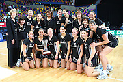 New Zealand Silver Ferns with the Holden Netball Trophy for 2008 - Action from the fourth international Holden Netball Test Series between the Australian Netball Diamonds and the New Zealand Silver Ferns.  Played at the Brisbane Convention Centre (November 2, 2008).  Photo: Warren Keir - SMP IMAGES.  <br /> <br /> Conditions of Use - this image is intended for editorial use only (print or electronic).  For any further use, please contact SMP