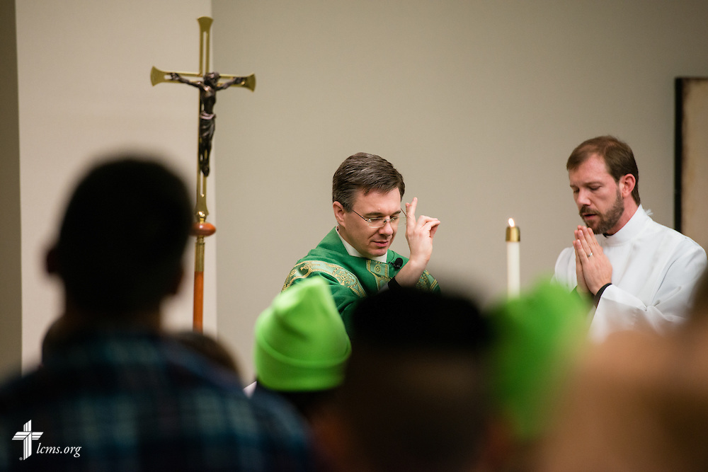 The Rev. Christopher Esget gives the benediction during the pre-march Divine Service Thursday, Jan. 22, 2015, at the Hilton in Crystal City, Va. LCMS Communications/Erik M. Lunsford