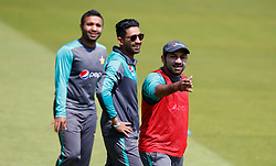 Pakistan captain Sarfraz Ahmed (right) during the nets session at Lord's, London.