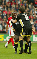 Photo: Aidan Ellis.<br /> Barnsley v Cardiff City. Coca Cola Championship. 29/09/2007.<br /> Cardiff's Jimmy Floyd Hasselbaink celebrates scoring with Robbie Fowler