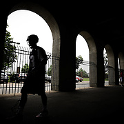 Eric Hagarty #13 of the Boston Cannons walks under the stands prior to the game at Harvard Stadium on July 19, 2014 in Boston, Massachusetts. (Photo by Elan Kawesch)