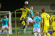 Cheltenham Town's Tyrone Bennett(29) heads the ball during the EFL Trophy match between Forest Green Rovers and Cheltenham Town at the New Lawn, Forest Green, United Kingdom on 4 September 2018.