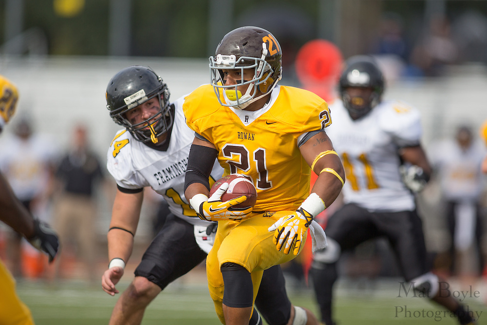 Rowan University Sophomore WR Mike Jimenez (21) - Rowan University Football vs Framingham State University at Richard Wacker Stadium in Glassboro, NJ on Saturday September 14, 2013. (photo / Mat Boyle)