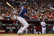 PHOENIX, AZ - JULY 04:  Matt Kemp #27 of the San Diego Padres hits an RBI double during the sixth inning against the Arizona Diamondbacks at Chase Field on July 4, 2016 in Phoenix, Arizona.  (Photo by Jennifer Stewart/Getty Images)