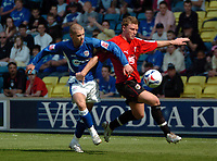 Photo: Tony Oudot.<br /> Millwall v Bristol City. Coca Cola League 1. 28/04/2007.<br /> Alan Dunne of Millwall challenges Enoch Showunmi of Bristol City