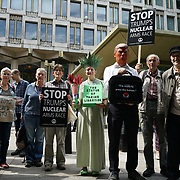London, England, UK. 11th August 2017. Stop the War and CND hosts a protest to Stop Trump's nuclear war - protest delegation to the US Embassy.