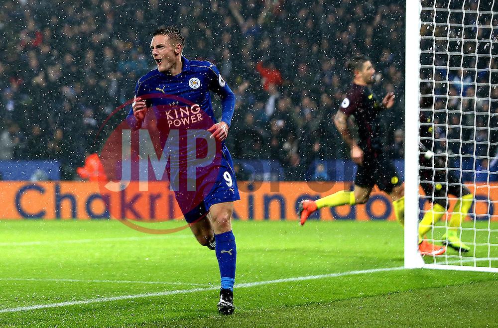 Jamie Vardy of Leicester City celebrates scoring his second goal - Mandatory by-line: Robbie Stephenson/JMP - 10/12/2016 - FOOTBALL - King Power Stadium - Leicester, England - Leicester City v Manchester City - Premier League