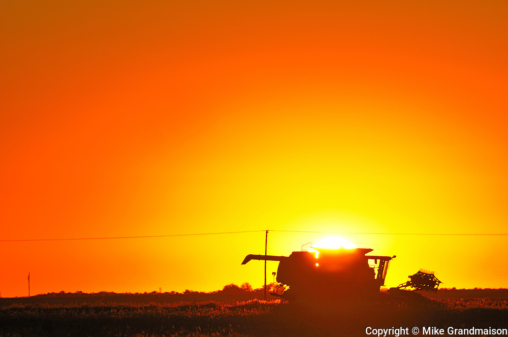 Combine at sunrise<br /> Moose Jaw<br /> Saskatchewan<br /> Canada