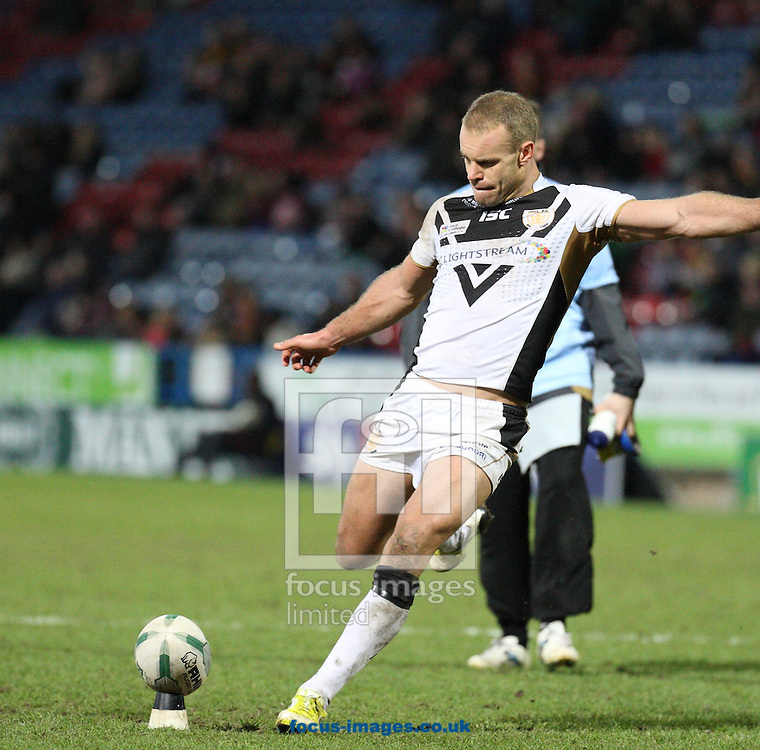 Picture by Stephen Gaunt/Focus Images Ltd +447904 833202.16/03/2013.Daniel Holdsworth Goal Kicking for Hull Football Club during the Super League match at the John Smiths Stadium, Huddersfield.
